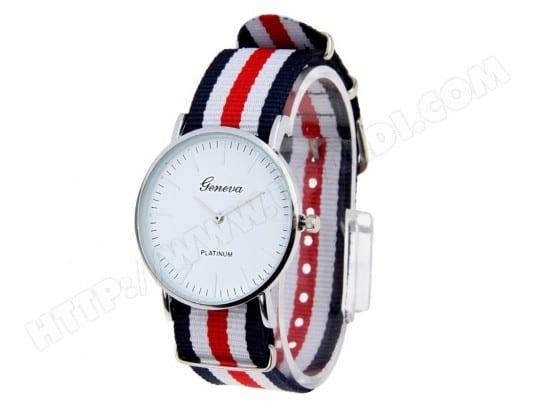 Montre Bracelet en nylon bleu foncé et rouge blanc Femmes hommes à quartz  avec bande en 8586b9144ac