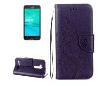 2fcbf7ab4f WEWOO MA-80CA500HOUS-FIF95 Housse Étui violet pour ASUS Zenfone Go ZB500KL  Modèle de fleurs pressées Horizontal en cuir flip avec support & Slots de  cartes ...