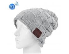 3d48790ae0c0 WEWOO MA-80CA496BONN-DP4ZM Bonnet Connecté gris pour garçon et fille adultes  Carré tricoté texturé casque Bluetooth chaud d hiver avec micro