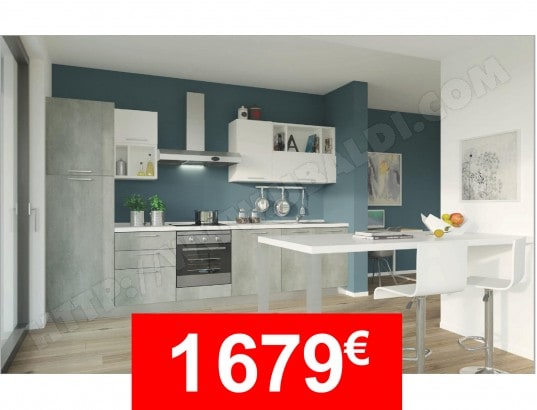 Pack Cuisine Forma Modele Colibri Gris Et Blanc Mat Uba01 Pas Cher