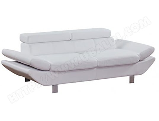 Canapé PU (simili cuir) UB DESIGN Vero 3 places blanc