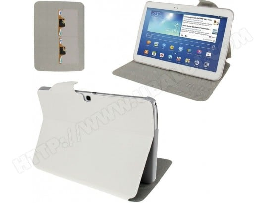 Housse Samsung Galaxy Tab 3 P5200 étui cuir 10.1 pouces support Blanc YONIS MA-80CA332HOUS-OAO46