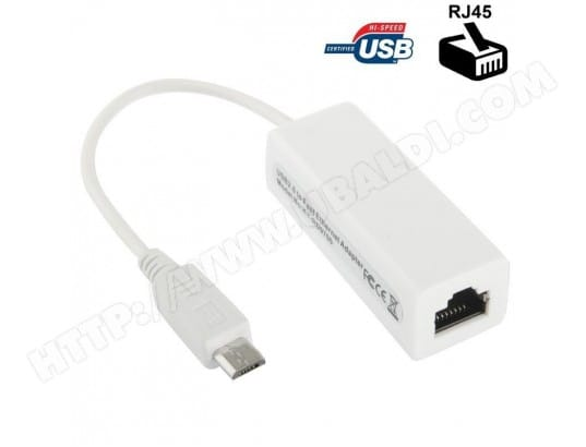 Adaptateur Ethernet RJ45 Micro USB smartphone tablette tactile blanc YONIS MA-80CA40_ADAP-L37Q5