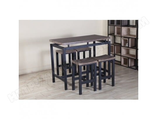 Ensemble Table Haute Bar 4 Tabourets Nimes Set Moderne Type