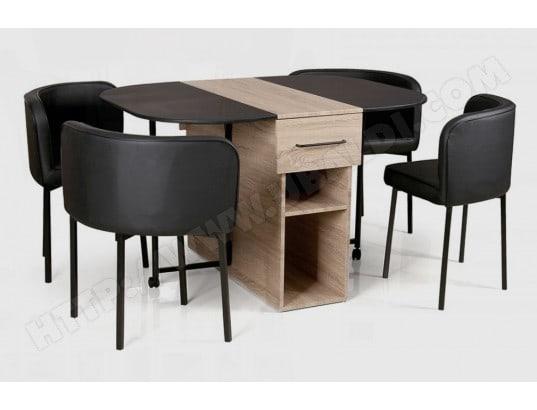 ensemble table et chaises ub design drawer 120 x 95 extensible 4 chaise pas cher