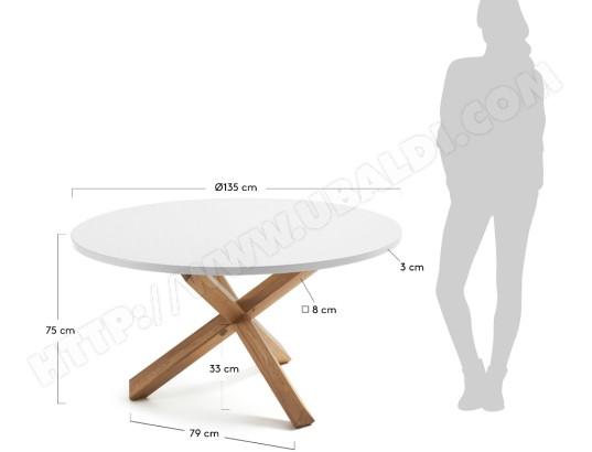 Table De Salle A Manger Lf Nori Diametre 135 Plateau Blanc Pied Bois