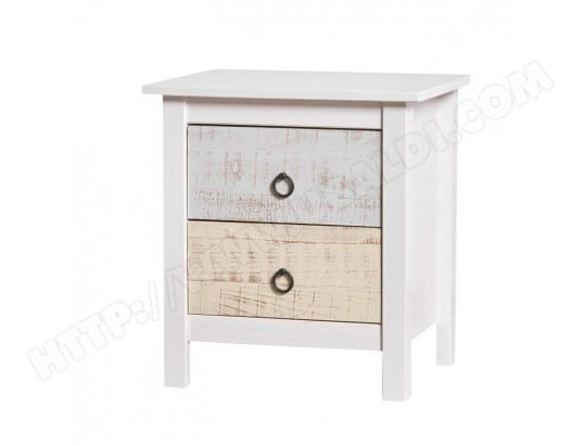 x LYHANA L l Bois de blanchi chevet 2 tiroirs Table 46 n08vwmN