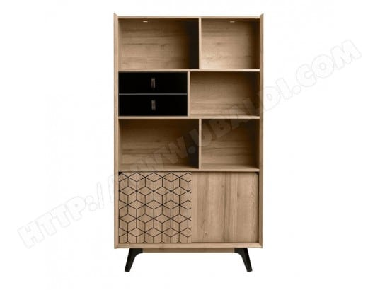 biblioth que 2 portes noir laqu bois nathan l 98 x l 39 x h 173 tousmesmeubles ma. Black Bedroom Furniture Sets. Home Design Ideas