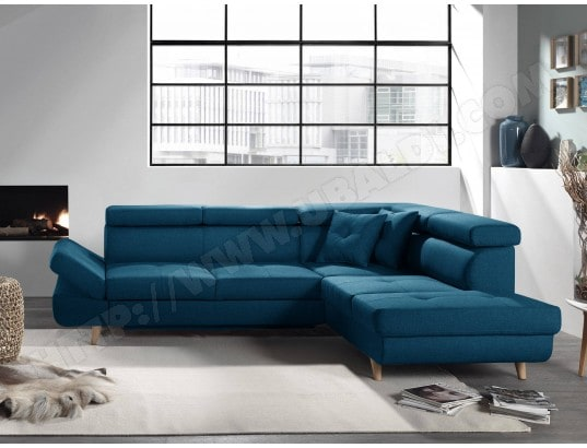 BESTMOBILIER - Linea - Canapé d angle droit convertible scandinave - L 252  x P 190cm Couleur - Bleu canard MA-18CA94 LINE-P7O57 ff32b5eb870e