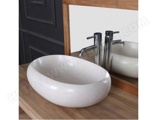 vasque ovale terrazzo resin blanc bois dessus bois dessous ma 69ca543vasq nd1oo pas cher. Black Bedroom Furniture Sets. Home Design Ideas