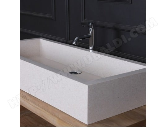 vasque rectangulaire terrazzo blanc bois dessus bois dessous ma 69ca543vasq tbpzc pas cher. Black Bedroom Furniture Sets. Home Design Ideas
