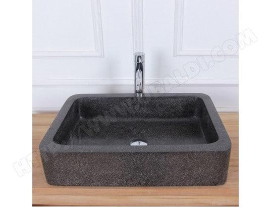 vasque rectangulaire terrazzo noir bois dessus bois dessous ma 69ca543vasq l38x0 pas cher. Black Bedroom Furniture Sets. Home Design Ideas