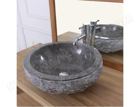 vasque bol rude en pierre de marbre gris bois dessus bois dessous ma 69ca543vasq ddld0 pas cher. Black Bedroom Furniture Sets. Home Design Ideas
