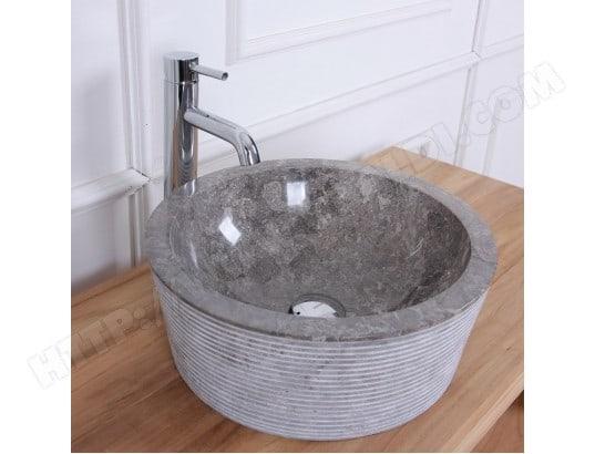 vasque tambour en pierre de marbre gris bois dessus bois dessous ma 69ca543vasq rw1b7 pas cher. Black Bedroom Furniture Sets. Home Design Ideas