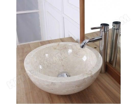 vasque boule en pierre de marbre blanc bois dessus bois dessous ma 69ca543vasq 2kchc pas cher. Black Bedroom Furniture Sets. Home Design Ideas