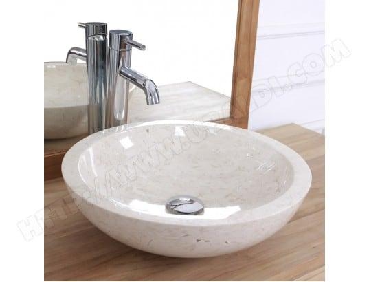 vasque bol bas en pierre de marbre blanc bois dessus bois dessous ma 69ca543vasq kcpwi pas cher. Black Bedroom Furniture Sets. Home Design Ideas