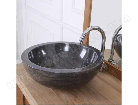 vasque bol bas en pierre de marbre noir bois dessus bois dessous ma 69ca543vasq rbgle pas cher. Black Bedroom Furniture Sets. Home Design Ideas
