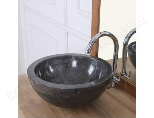 vasque bol en pierre de marbre noir bois dessus bois dessous ma 69ca543vasq d75wk pas cher. Black Bedroom Furniture Sets. Home Design Ideas