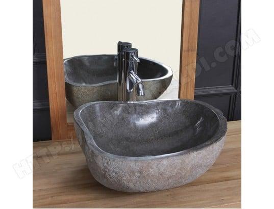 vasque en pierre de rivi re naturelle 40 bois dessus bois dessous ma 69ca543vasq o53bp pas cher. Black Bedroom Furniture Sets. Home Design Ideas