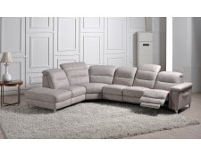 canap microfibre ub design costa 5 places pouf 1 relax gauche gris clair - Canape Angle Relax
