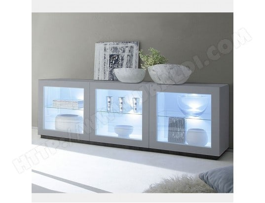 buffet bas vitr design gris mat laqu valerona nouvomeuble ma 82ca182buff 034nh pas cher. Black Bedroom Furniture Sets. Home Design Ideas
