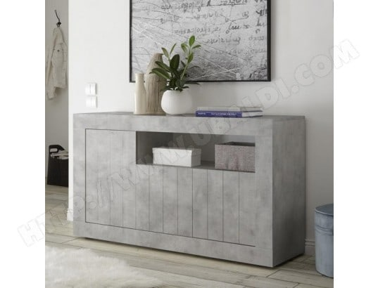 buffet gris clair moderne 140 cm 3 portes urban 2 nouvomeuble ma 82ca182buff kt61k pas cher. Black Bedroom Furniture Sets. Home Design Ideas