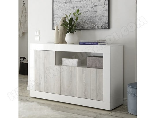 buffet blanc laqu moderne 140 cm 3 portes urban 3 nouvomeuble ma 82ca182buff npyta pas cher. Black Bedroom Furniture Sets. Home Design Ideas