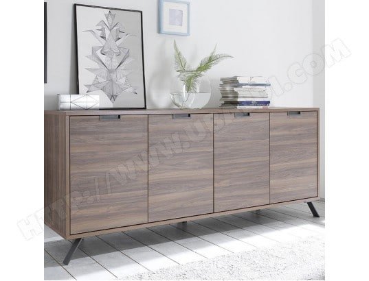 buffet moderne 4 portes couleur bois fonc jace 2 nouvomeuble ma 82ca182buff pnoal pas cher. Black Bedroom Furniture Sets. Home Design Ideas