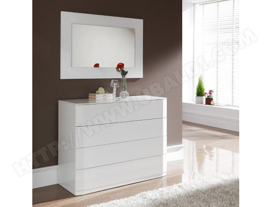 Commode Blanc Laque Design Tatimo 4 Tiroirs Avec Systeme Push