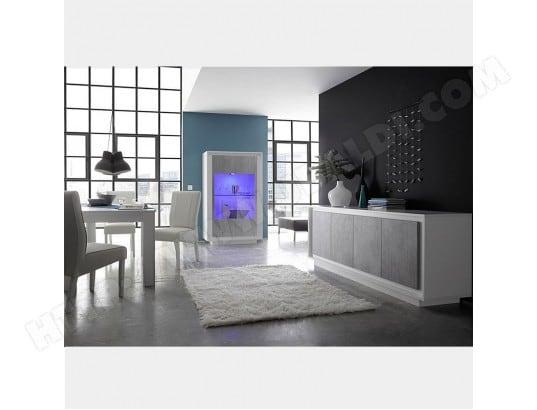Salle à manger design blanc laqué mat et couleur béton ERINE 7 ...