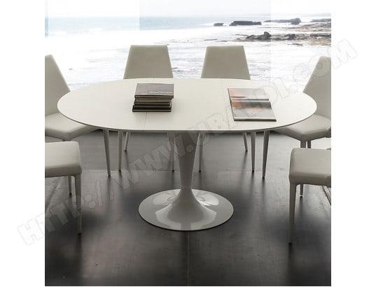 Table à manger ronde blanche avec rallonge CESARIO NOUVOMEUBLE MA ...