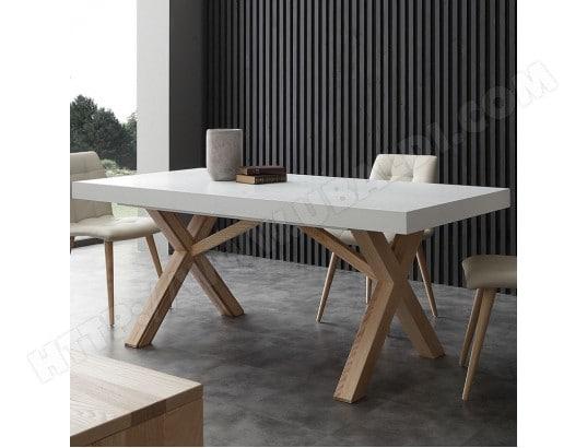 Table A Manger Extensible Bois Et Blanc Helia 2 Nouvomeuble Ma