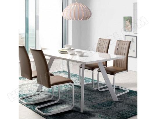 nouvomeuble table a manger design blanc laque zeus ma 82ca492tabl si76o