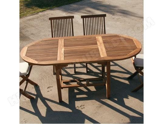 Table de jardin ovale en bois extensible LISERON NOUVOMEUBLE MA ...