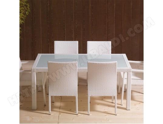 Table de jardin en résine tressée blanche et en verre MIMOSA ...