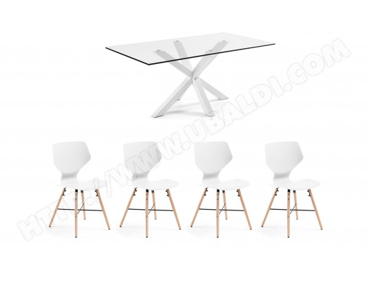 LF Ensemble table et chaises Table Arya + 4 chaises Withey blanches
