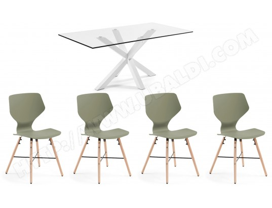 LF Ensemble table et chaises Table Arya + 4 chaises Withey vertes