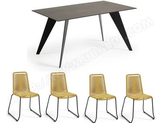Ensemble table et chaises LF Table Nack noire + 4 chaises Meagan ...