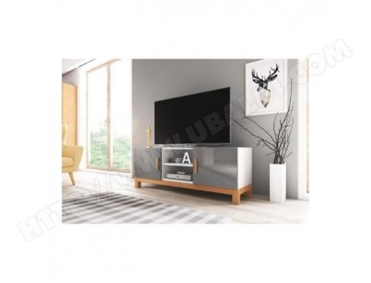 meuble tv design george 140 cm 2 portes 2 niches type scandinave price factory 816 pas cher. Black Bedroom Furniture Sets. Home Design Ideas