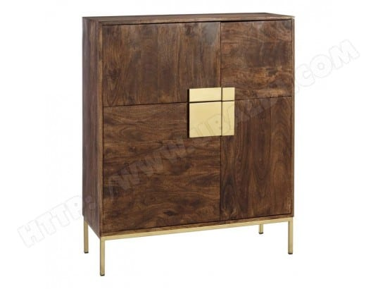 vaisselier 4 portes bois m tal dor laurent l 100 x l 38 x h 118 tousmesmeubles ma. Black Bedroom Furniture Sets. Home Design Ideas