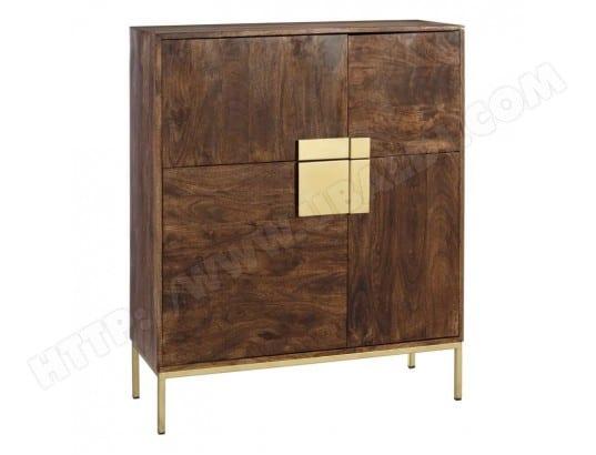 vaisselier 4 portes bois m tal dor laurent l 100 x l 38 x h 118 tousmesmeubles ma. Black Bedroom Furniture Sets. Home Design Ideas