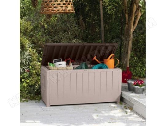 Coffre de jardin avec assise marron et beige CHALET & JARDIN ...
